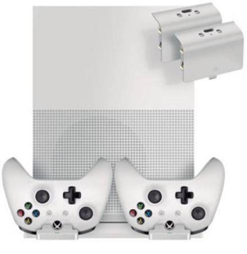 תמונה של עמדת טעינה אנכית כפולה כוללת עריסת הטענה לבקרי משחק לאקסבוקס Sparkfox One S - צבע לבן