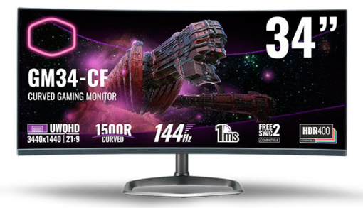 Picture of מסך מחשב Cooler Master 34 Inch Curved 1Ms 144Hz VA FreeSync2 21:9