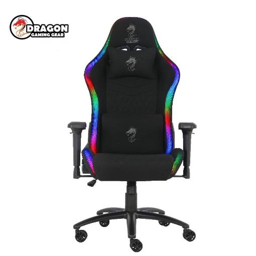 תמונה של כסא גיימינג מדגם  Dragon Space Plus עם תאורת RGB שחור - בד