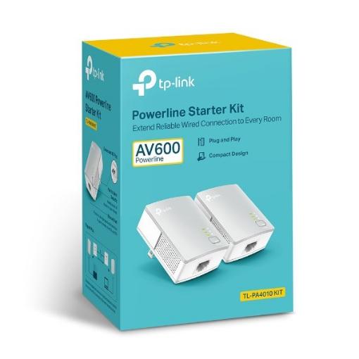 """תמונה של מתאם רשת ע""""ג חשמל TP LINK PA4010 KIT 600Mbps"""