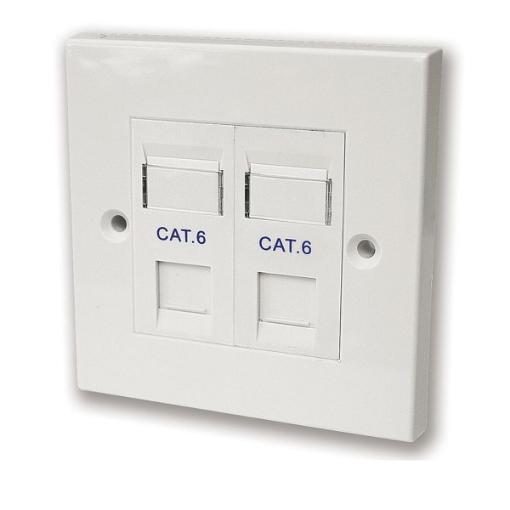תמונה של קופסא עם שתי יציאות ללא שקע RJ-45 Deep plastic box Cat6