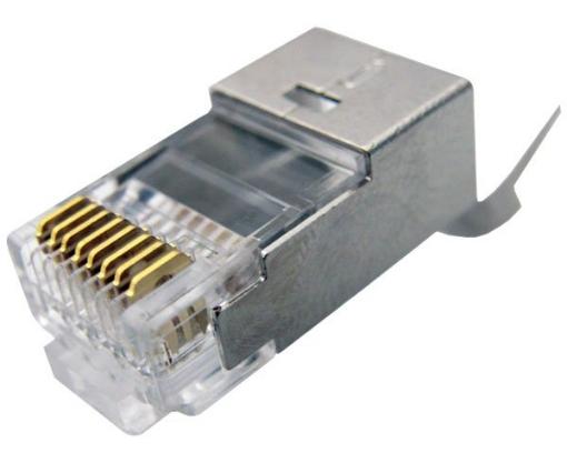 תמונה של תקע זכר מסוכך לכבלי רשת FTP male Connector RJ-45 Cat 7